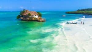 Aerial. Reastaurant on rock. Zanzibar, Tanzania.